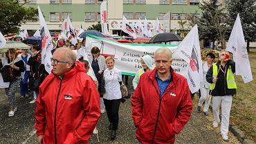Rybnik, demonstracja zorganizowana przez związkowców Wojewódzkiego Szpitala Specjalistycznego nr 3