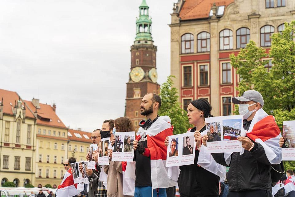 Wrocław. Akcja solidarności z Białorusią - 13.06.2021