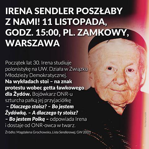 Grafika przygotowana przez partię Razem z okazji 11 listopada.