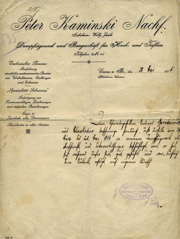Referencje z 1915 r.