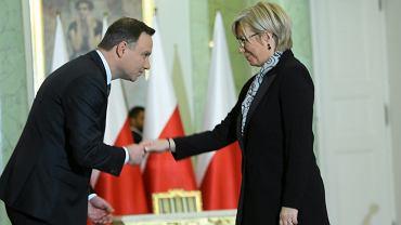 Prezydent Andrzej Duda i prezes Trybunału Konstytucyjnego Julia Przyłębska.