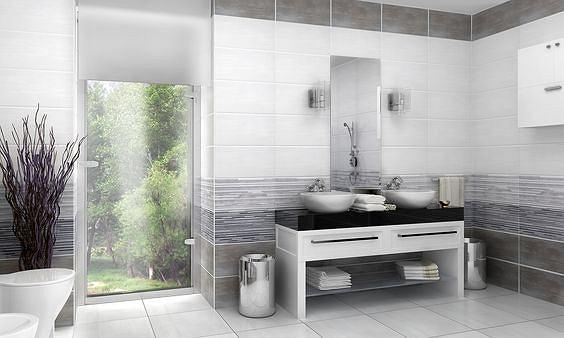 Szklaną taflę kabiny prysznica ozdabia wodoodporna fototapeta/ceramika Marconi
