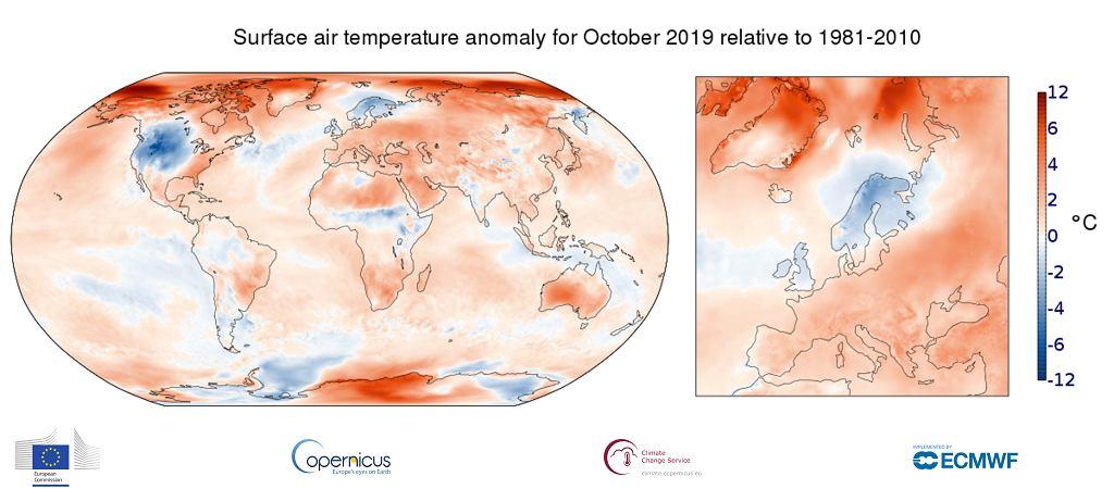 Przekroczenia średniej temperatury w październiku 2019