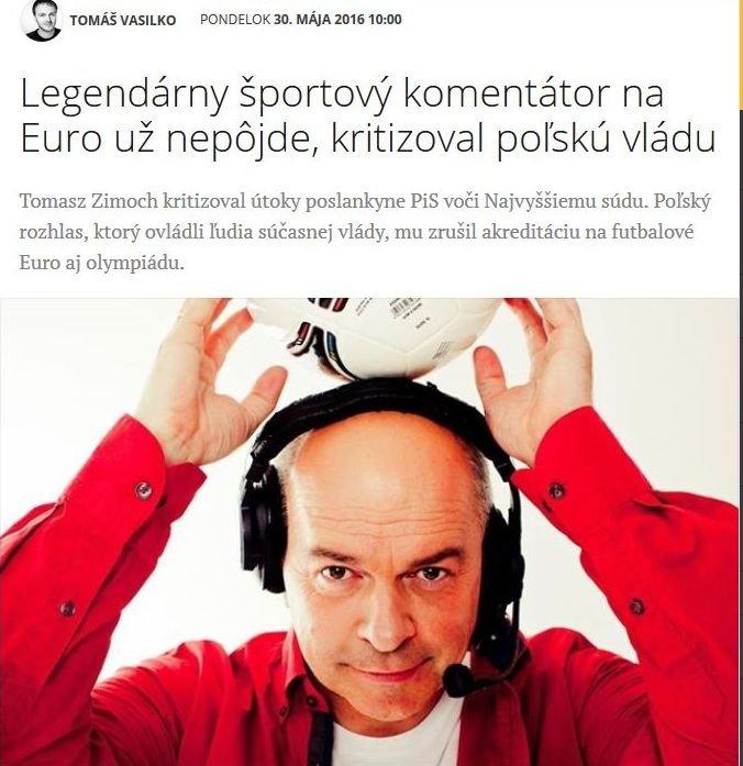 Tomasz Zimoch w słowackiej gazecie