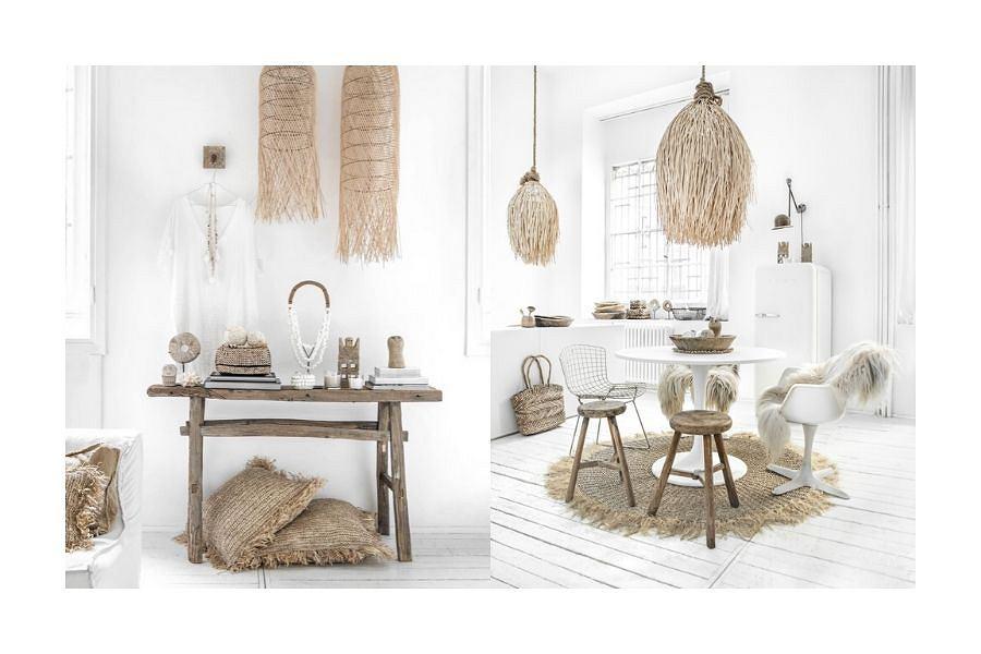 Lampy i dekoracje z przepięknie opadającymi frędzlami z rattanu stylizują wnętrzarską scenografię