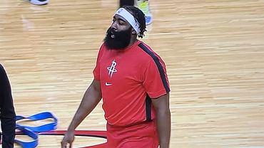 James Harden podczas treningu Houston Rockets przed sezonem 2020/21. Źródło: Twitter