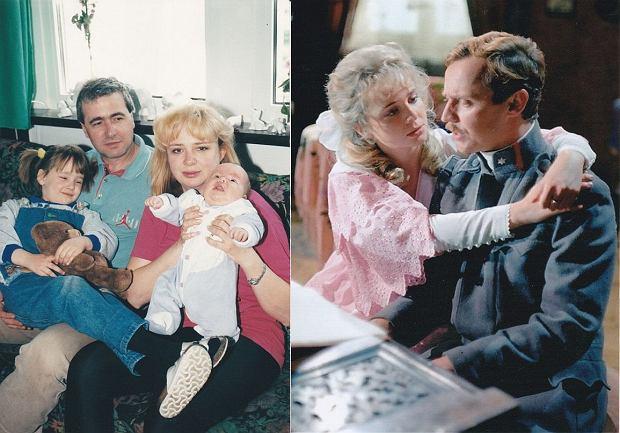 Anna Gornostaj z mężem i dziećmi po prawej: z Markiem Kondratem w 'C.K. Dezerterzy''
