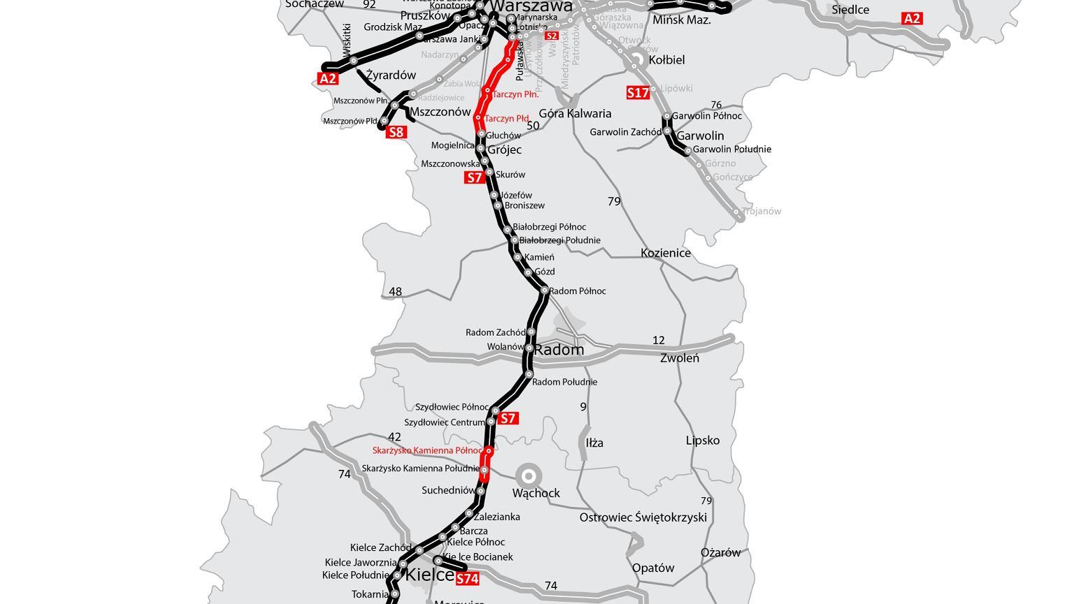 Droga S7 Z Warszawy Do Krakowa I Dalej Na Poludnie Mapa 2019