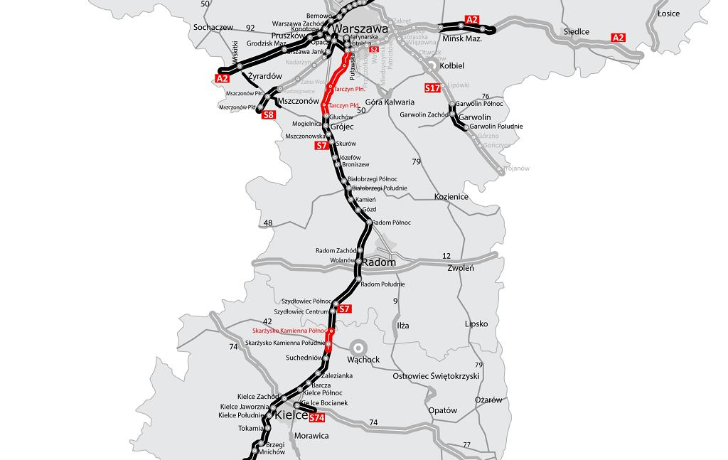Droga S7 z Warszawy do Krakowa i dalej na południe