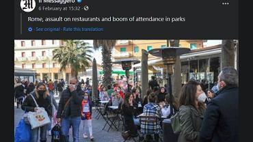 Włosi hucznie świętowali pierwszy weekend złagodzenia obostrzeń. Pełne restauracje, ale i setki mandatów