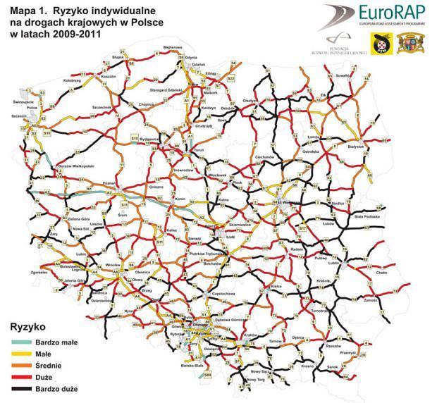 Mapa ryzyka na polskich drogach
