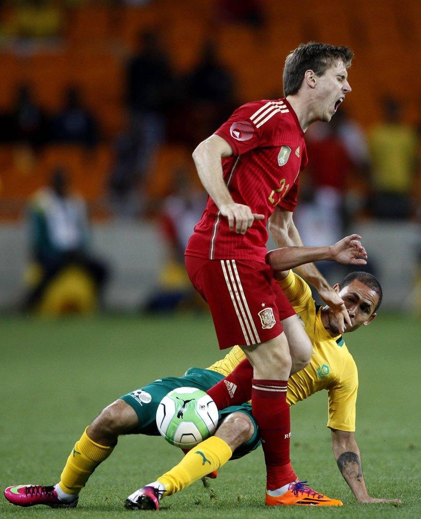 Daylon Claasen w meczu RPA - Hiszpania