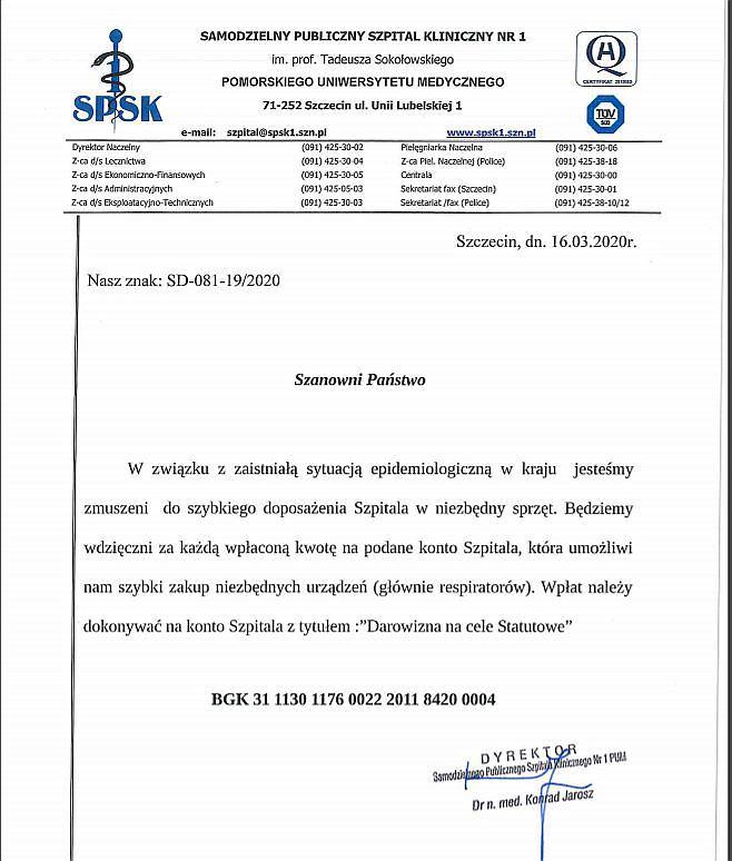 Apel dyrekcji szpitala przy ul. Unii Lubelskiej w związku z epidemią koronawirusa