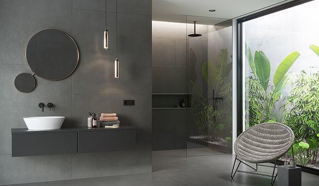 Płytki łazienkowe w ciemnej, minimalistycznej odsłonie
