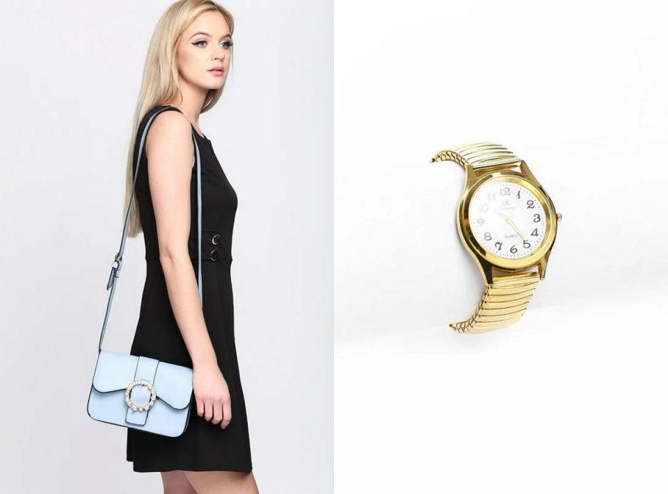 Jasnoniebieska torebka na paku oraz zegarek w kolorze złota