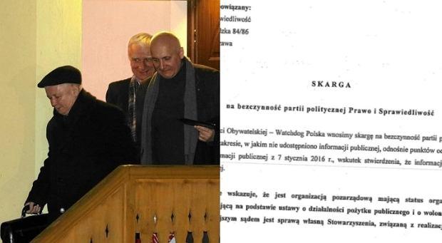 Jarosław Kaczyński/ Fragment skargi złożonej przez Watchdog do WSA