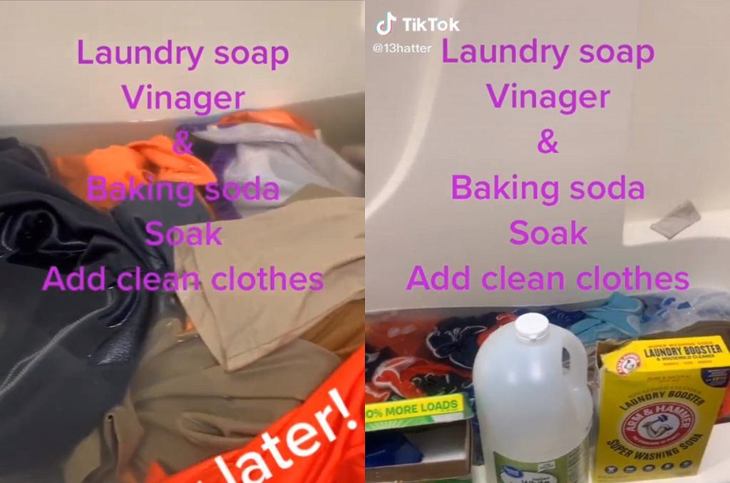 Tata zrobił domowy proszek do prania z sody, octu i płynu do płukania.