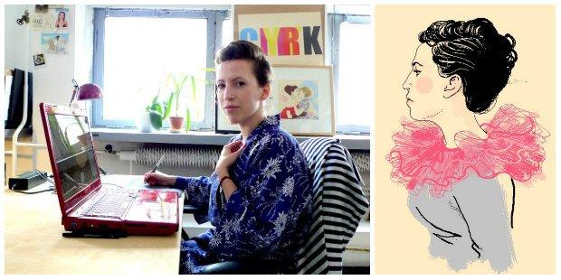 Agata Nowicka - prawdziwa i narysowana. Fot. Maria Zaleska. rys. Agata Nowicka