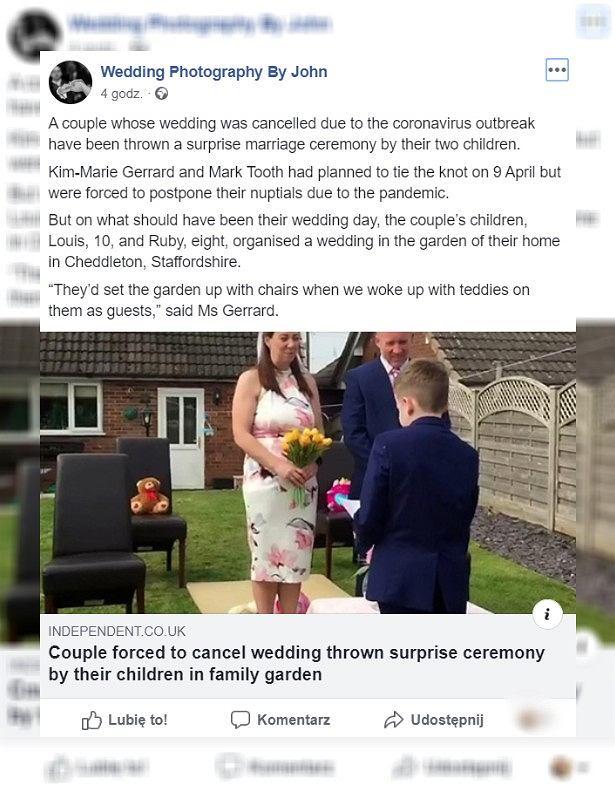 Odwołali ślub z pwoodu koronawirusa. Dzieci zorganizowały im uroczystość