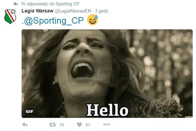 Tweet Legii w odpowiedzi Sportingowi