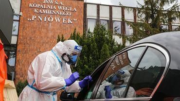 Badanie przesiewowe górników i pracowników kopalni Pniówek, Pawłowice Śląskie 24.05.2020