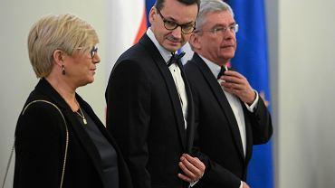 Julia Przyłębska, Mateusz Morawiecki i Stanisław Karczewski