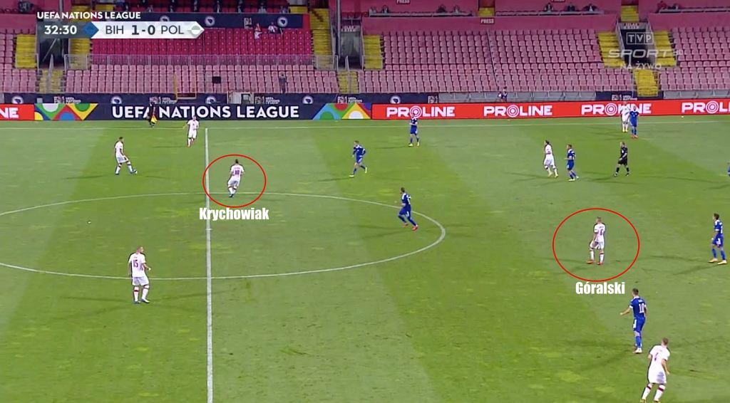Krychowiak nie podłączał się do ataków reprezentacji tak, jak w zeszłym sezonie w Lokomotiwie. To Góralski grał wyżej