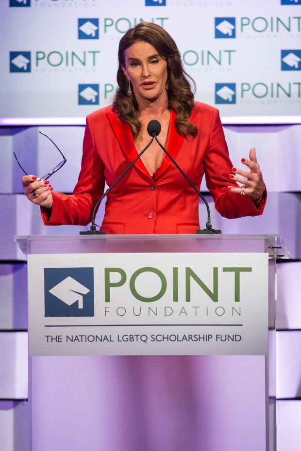 Caitlyn Jenner speaks on stage during the Voices on Point Gala at the Hyatt Regency Century City on Saturday, Oct. 3, 2015 in Los Angeles. (Photo by Paul A. Hebert/Invision/AP)