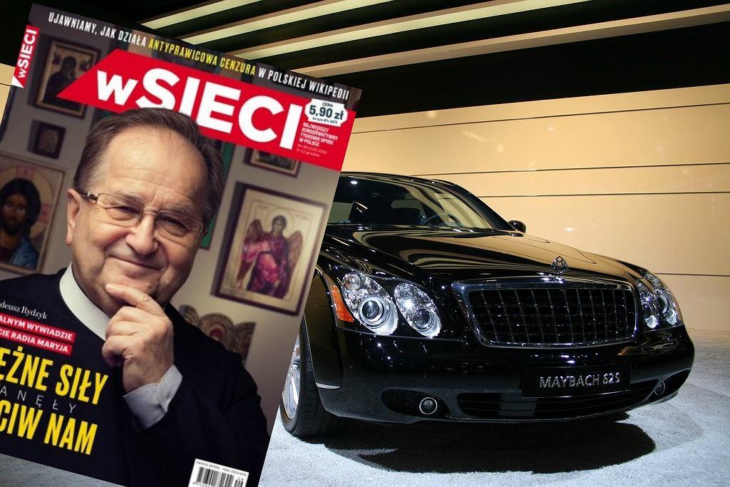 Okładka magazynu 'wSieci oraz samochód marki Maybach