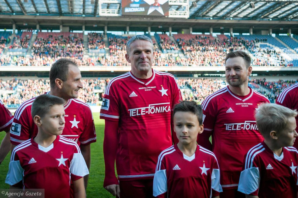 Przed meczem Gwiazdy dla Białej Gwiazdy. Od lewej: Grzegorz Pater, Kazimierz Moskal, Damian Gorawski