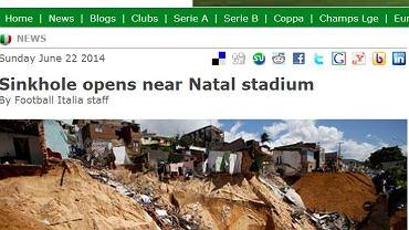 Powiększa się zapadlisko niedaleko Arena das Dunas.