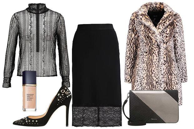 czarna spódnica New Look koronkowa zima 20112012
