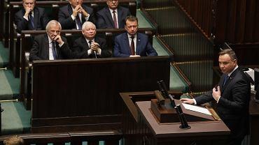 Prezydent Andrzej Duda podczas pierwszego posiedzenia Sejmu IX kadencji