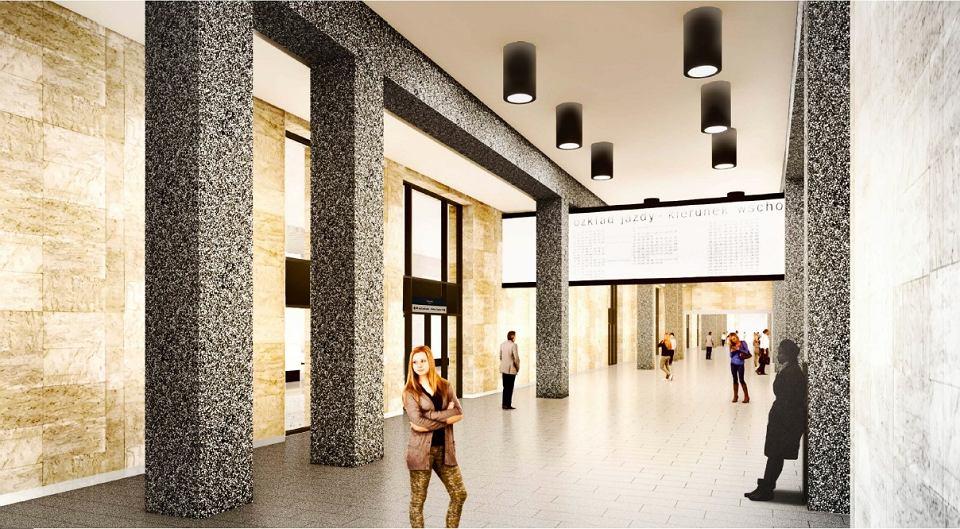 Koncepcja przebudowy Dworca Śródmieście. Odtworzone zostaną (częściowo z oryginalnych materiałów) trawertynowe okładziny ścian, słupy z płukanego betonu, granitowe posadzki, oraz ażurowy sufit nad peronami.