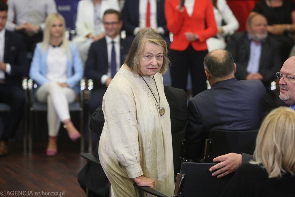 Janina Goss podczas spotkania premiera Mateusza Morawieckiego z łodzianami w specjalnej strefie ekonomicznej. Łódź, 12 lipca 2018