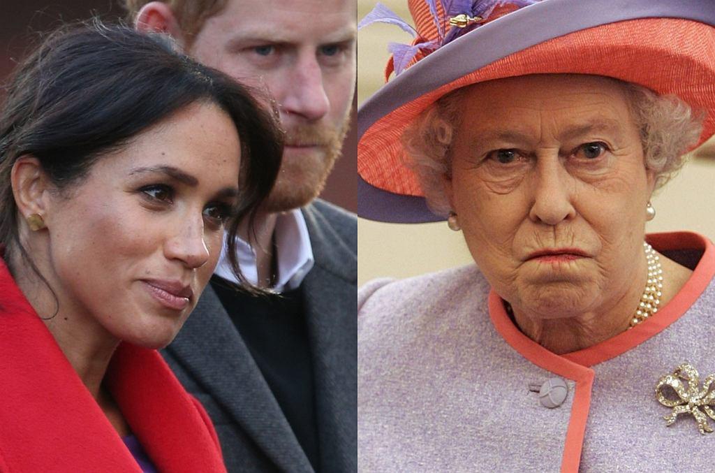 Księżna Meghan i książę Harry, królowa Elżbieta II