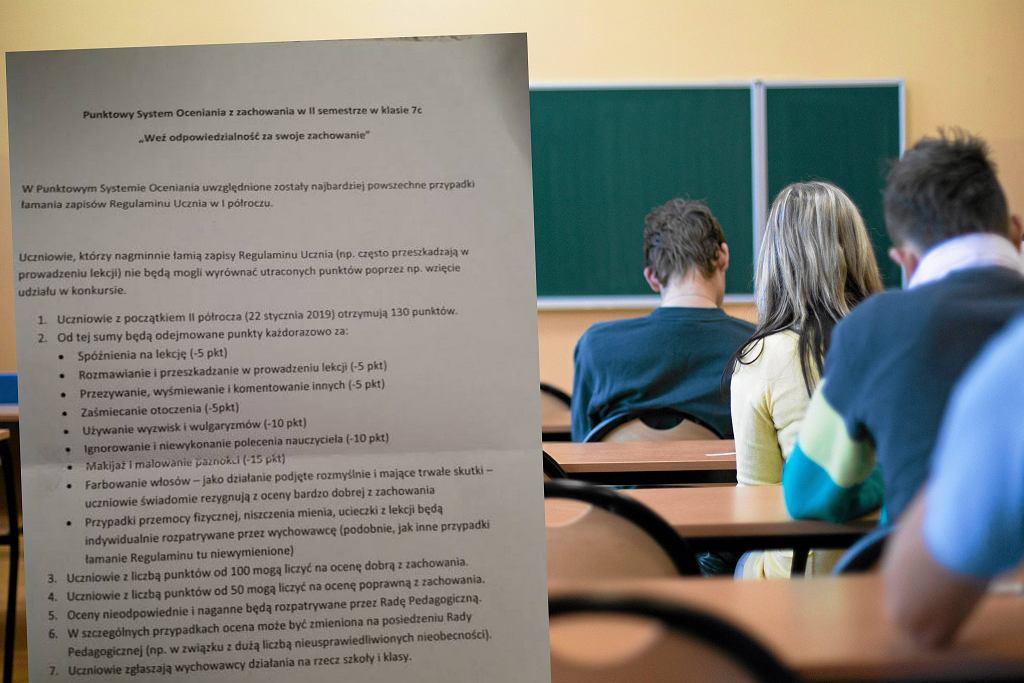Punktacja zachowania uczniów w szkole na Targówku w Warszawie