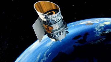 Grafika NASA pokazująca teleskop IRAS na orbicie