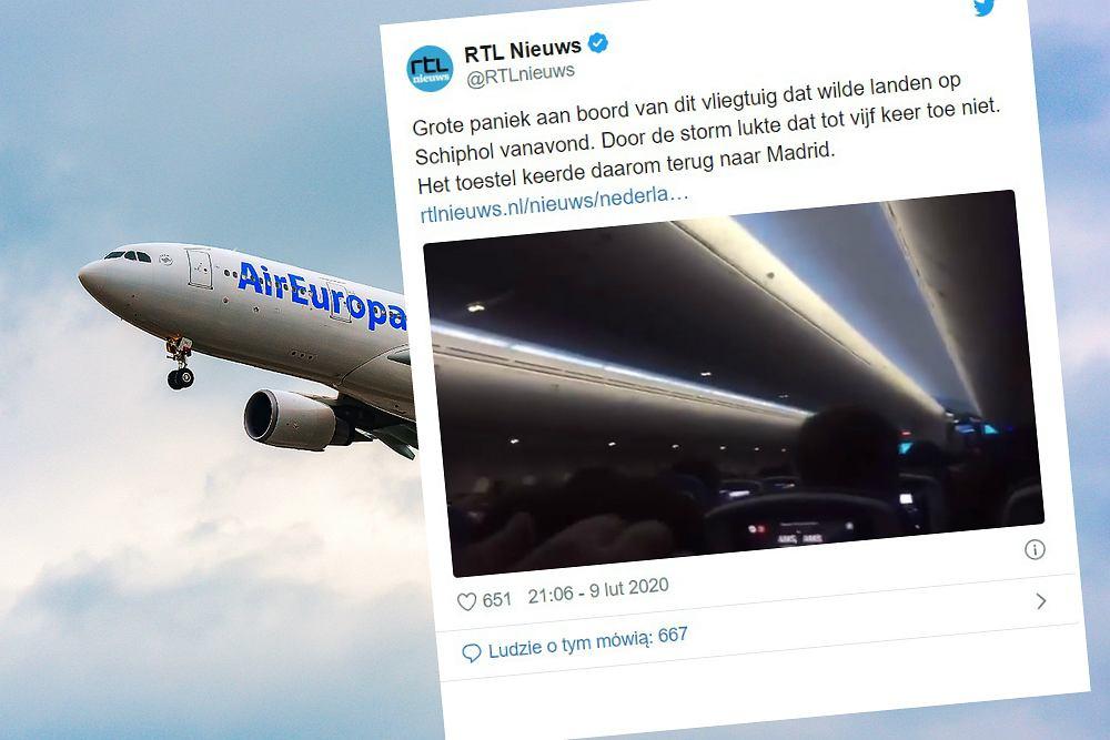 Samolot pięciokrotnie podchodził do lądowania