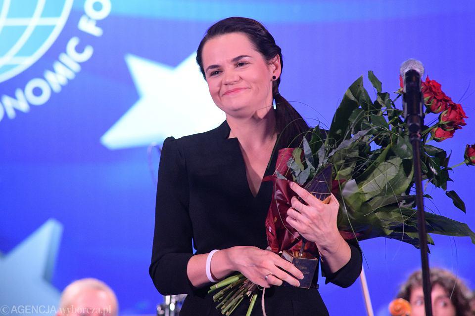 Swiatłana Cichanouska na Forum Ekonomicznym w Karpaczu, 9 września 2020 r.