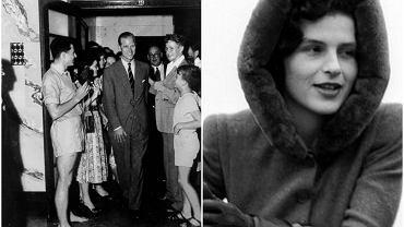Po lewej książę Filip podczas wizyty w Brisbane w Australii, 1954 r. Po prawej Osla Benning, w której Filip był zakochany jeszcze przed ślubem z Elżbieta (fot. Queensland Newspapers Pty Ltd / Wikimedia.org / Domena publiczna / Wikimedia.org / Fair use)