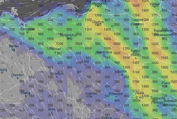 Burze nad Polską, prognoza na godz. 14