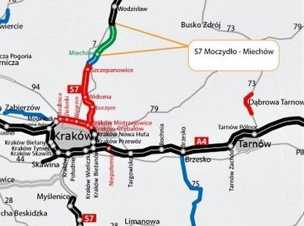 """Kolejny fragment trasy S7 coraz bliżej. Powstanie """"siódemka"""" na północy Krakowa"""