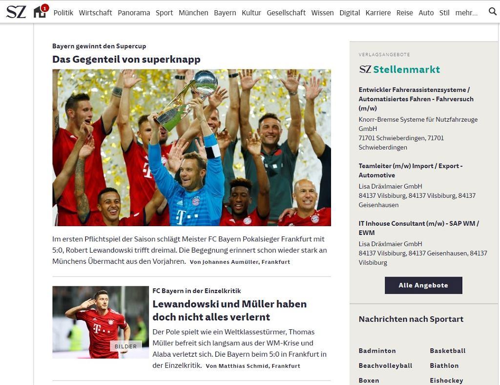 Niemieckie media komentują występ Roberta Lewandowskiego