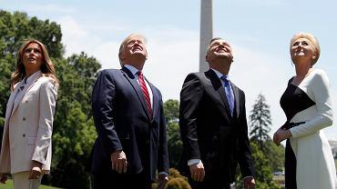 Pierwsze damy i prezydenci Polski i USA podczas wizyty Andrzeja Dudy w Białym Domu