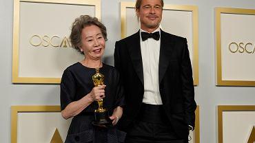 93. ceremonia wręczenia Oscarów - Brad Pitt i Yuh-Jung Youn