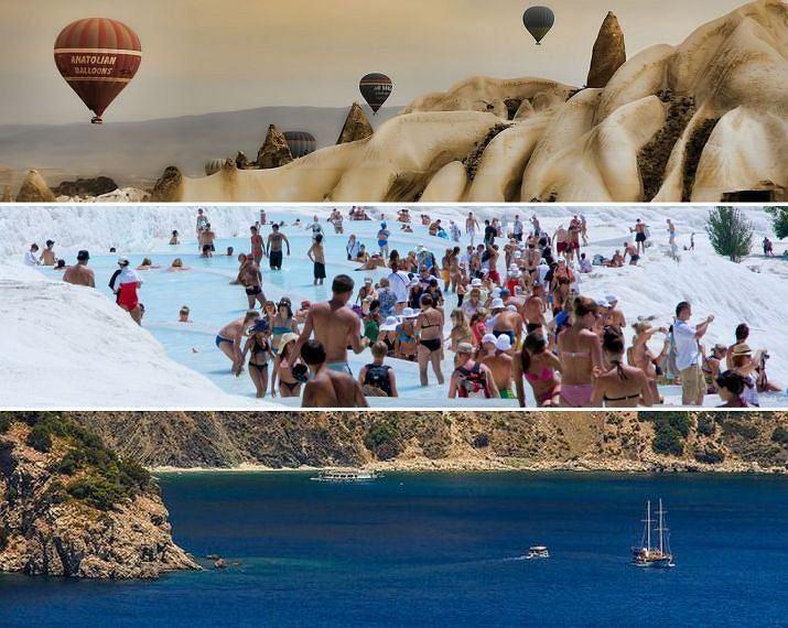 Turcja wycieczka: Kapadocja (góra), Pamukkale (środek) i wybrzeże
