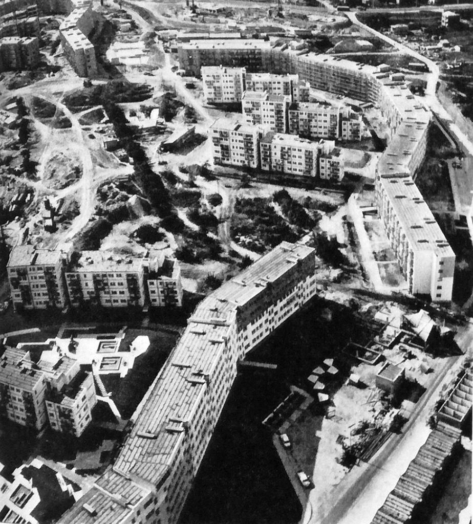 Osiedle im. Słowackiego widziane z lotu ptaka, lata 70.