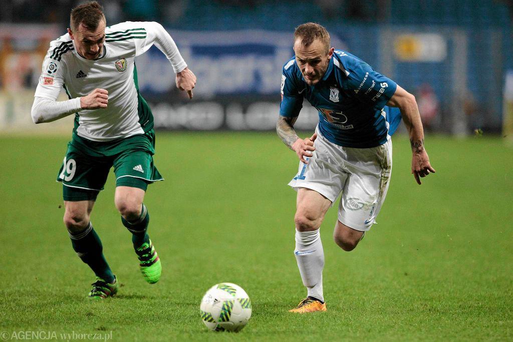 Lech Poznań - Śląsk Wrocław 0:1. Gergo Lovrencsics i Peter Grajciar (z lewej)