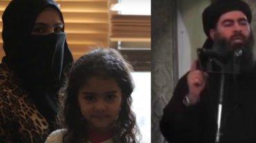 Saga al-Dulaimi z córką i jej były mąż, Abu Bakr al-Baghdadi
